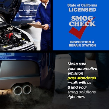 Smog Check advertisement with two photos of a car engine and exhaust with printed words: Make sure your automotive emission pass standards. Talk with us and find your smog solutions right now.