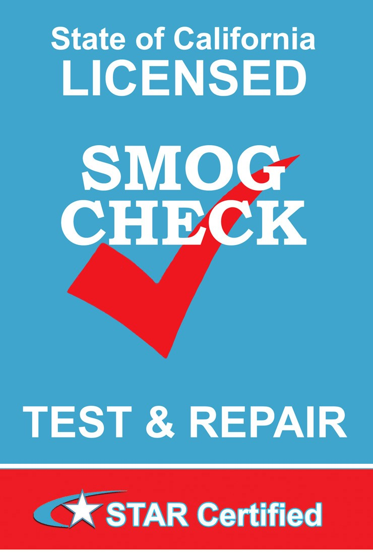 State of California Licensed Smog Check Test & Repair advertisement, STAR certified