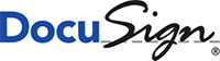 DocuSign Logo, Docu in blue text and Sign in black cursive.