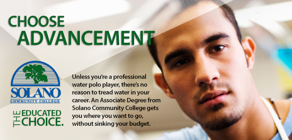 SCC Ad, Choose Advancement, Solano the educated choice.