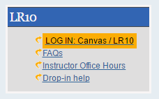 screenshot of the library homepage with a link to canvas