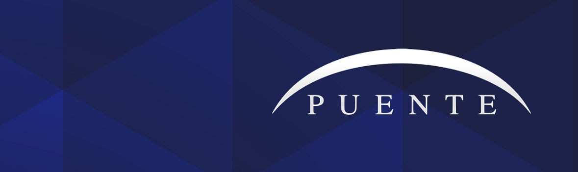 Puente Homepage graphic. Puente Logo, Puente in type with white slash over it, on blue background.